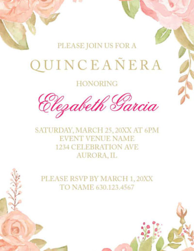 Elegant Pink Rose Quinceanera Invitation17